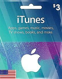 Apple iTunes Gift Card - $3 (USD) - American USA - Instant Delivery