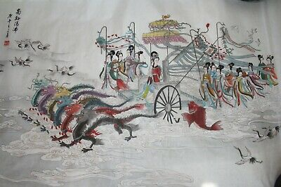 Antique Chinese Silk Painting - Dragon Empress- 20 x 24