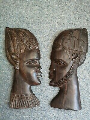 Pair Of Hand Carved African Tribal Wall Placques.