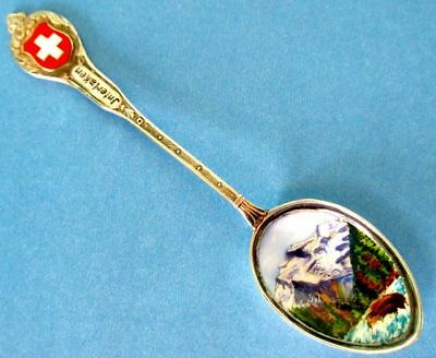 Enamel Spoon, Swiss INTERLAKEN, 800 Silver, Colorful Landscape