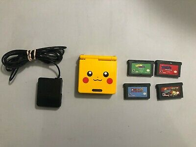 Nintendo Game Boy Advance, GBA SP AGS 101 Pikachu Yellow System/ charger 4 games