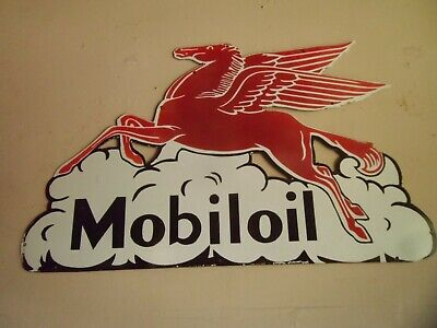 "Moboil Pegasus large service station porcelain sign  40""w x 25""h"