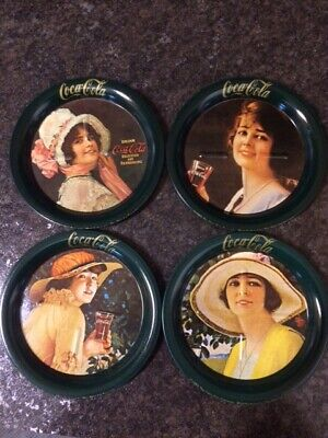 COCA COLA Vintage Coasters Set of 4 Metal with Coke Calendar Ladies - 1983 EUC