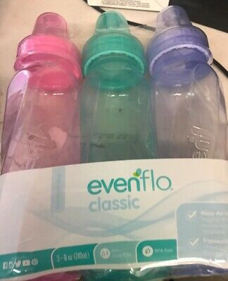 Evenflo 3 Pack Classic Girls Baby Bottles, colored, 8 Ounce