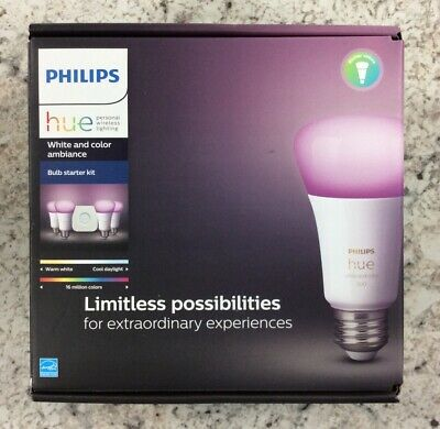 Philips - Hue White & Color Ambiance A19 LED Starter Kit - Multicolor - New
