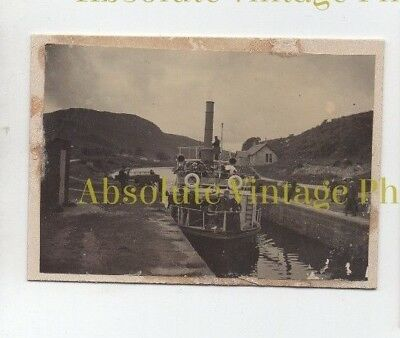 Old Photograph Steamship Linnet At A Crinan Canal Lock Vintage C.1900