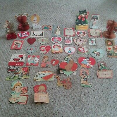 Antique Lot of 40 Valentine's Day Cards Die Cuts,Mechanical Honeycombs 1920's