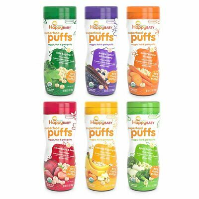 Happy Baby Organic Puffs Assortment Variety Packs 2.1 Ounce 6 pack