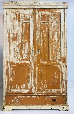 Antique European distressed painted armoire cupboard wardrobe