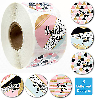 x100 Thank You Stickers Pink Round Labels Wedding Birthday Hand Made With Love