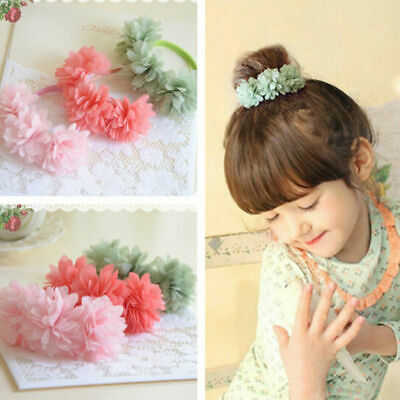 Flower  Elastic  Bands  Accessories Clips Kids Girls  Hair  Multi-layer