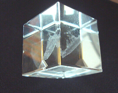 3D Laser Etched Crystal/Cut Glass SHIP, Cube, 4 cm, miniature, boat, clear