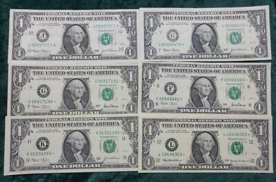6 $1 Notes Bills 5 STAR Notes & 1 LOW SERIAL # 000007317 Most notes CRISPY Look