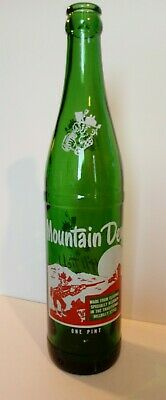 "Vintage 1968 Mountain Dew Bottle One Pint ""It'll Tickle Your Innards!"" Very Good"