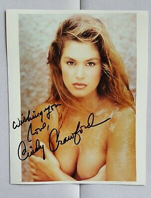 hand signed Cindy Crawford color photo autographed 8 x 10 authentic super model