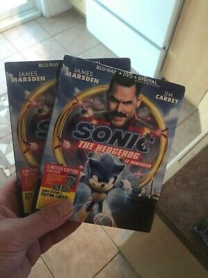 Sonic the Hedgehog BLU RAY + DVD + DIGITAL +SLIPCOVER - BRAND NEW SEALED