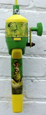 "DREAMWORKS SHREK CHILDS GREEN CASTING 30"" FISHING POLE & REEL COMBO w/ LINE"