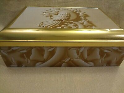 Large Gold & White Rectangular Hinged Metal Tin - Empty- Storage Container Box