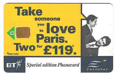 Eurostar discounts £5 used chip phonecard 1990s