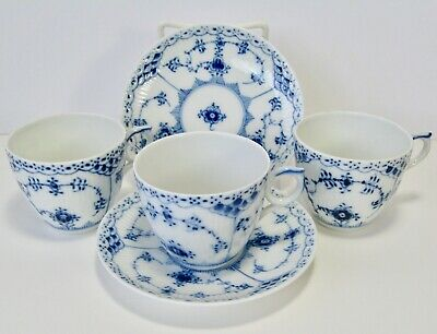 Pair Royal Copenhagen Blue Fluted Half Lace Flat Cup & Saucer + Extra Cup #756