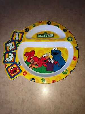 First Years Sesame Street Child Divided Dinner Dish Plate Elmo Cookie Monster