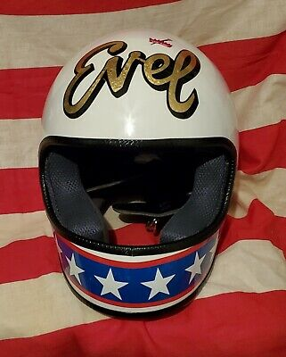 Evel Knievel Vintage Stunt Cycle 70'S Replica Motorcycle Helmet Color Me Lucky