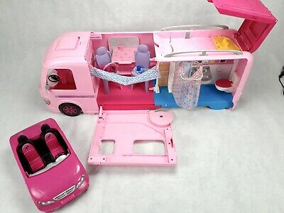 Mattel Barbie Dream Camper Pink RV Bus Home Van Motor Playset & Convertible Car