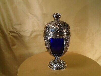 Silver Egg with Cobalt Glass Liner  Silver Frame holds cobalt glass liner