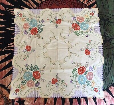 vintage hand embroidered linen Rustic Farmhouse tablecloth