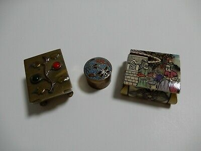 3 Vintage Small Snuff Pill Boxes Chinese Cloisonne Brass Middle Eastern Persian
