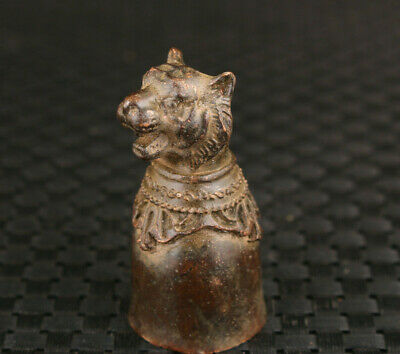 chinese old bronze hand casting tiger statue wine cup tea pet table decoration