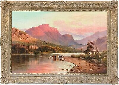 Cattle Highland Loch Antique Oil Painting circle Alfred de Breanski (1852-1928)