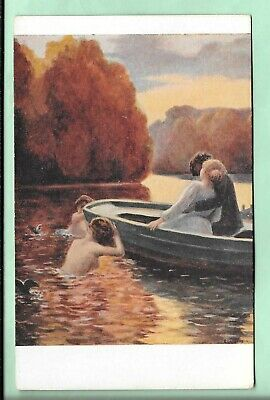 French Postcard. Art. Lovers In A Boat. Lapierre-Renouard