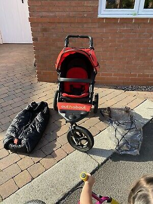 Out N About Nipper 360 Single Pushchair, red, inc Raincover And Kaiser Footmuff