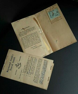 Vintage 1954 Travel Tickets From Raymond Cook's Travel Guild - UK to Switzerland