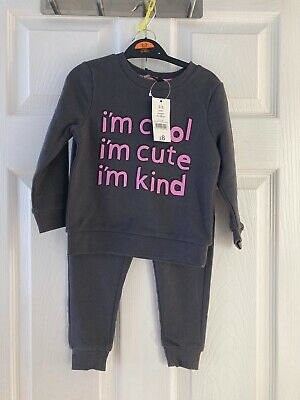 Brand New George Girl's Grey 2 Piece Sweatshirt & Pants Outfit Size 2-3 years