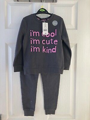 Brand New George Girl's Grey 2 Piece Sweatshirt & Pants Outfit Size 4-5 years