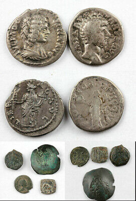 *Sc* Nice Lot Of 6 Ancient Coins In Silver And Bronze, Roman, Greek & Byzantine!