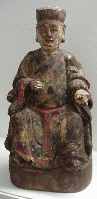 ANTIQUE or ANCIENT CARVED WOOD CHINESE GOD of WEALTH FIGURE, WITH MARKINGS, RARE