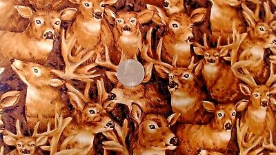 """Handsome Lots Of Deer Cotton Fabric Remnant 35"""" Long & 10"""" Wide Mint"""