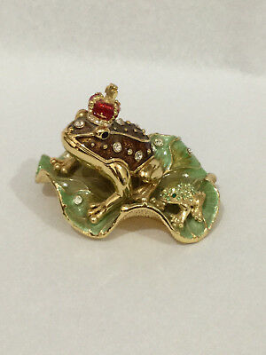 Lovely Enamel Crystal Frog Crowned Prince With Baby Frog Trinket Box Ring Box