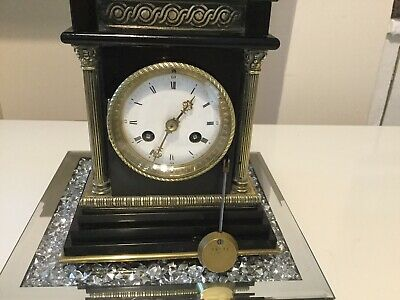 ANTIQUE MARBLE/ SLATE MANTLE CLOCK 1880s