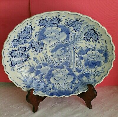 "Antique Chinese Blue &White Porcelain Plate Handpainted very rare Marked 12.5""L"