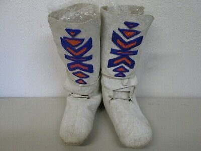 """Antique Native American High Top 11"""" Tall Beaded Moccasins In Used Condition"""