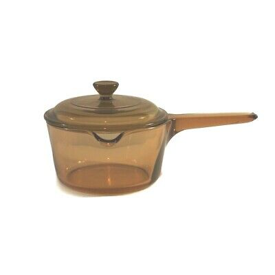 Vintage Corning Pyrex Vision Ware 1 L Amber Glass Pot Sauce Pan with Lid