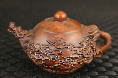 Fortune chinese old boxwood dragon pot  Art statue Hand piece noble gift