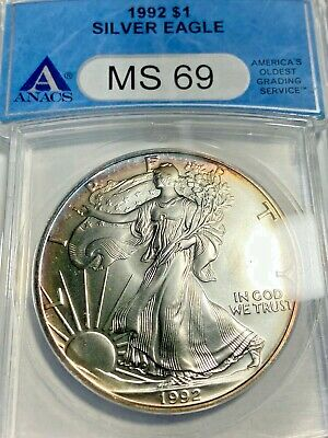 1992 Silver Eagle MS 69 With light RAINBOW Toning! No Reserve