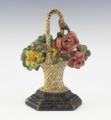 Antique Polychrome Painted Cast Iron Red Rose Floral Flower Basket Doorstop JTM