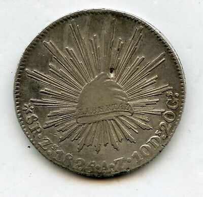 Mexico 1825 8 Reales Zs AZ Zacatecas Mint Silver Mexican Coin small hole