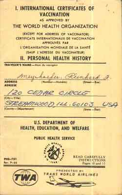 Used Int'l Certificate Of Vaccination Presented By Twa ( Trans World Airline )